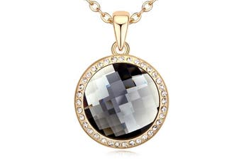 Gorgeous Round Shadow Pendant Necklace Embellished with Swarovski crystals