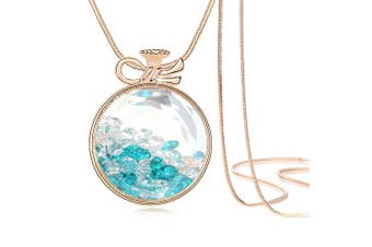 Teal Crystals Long Necklace