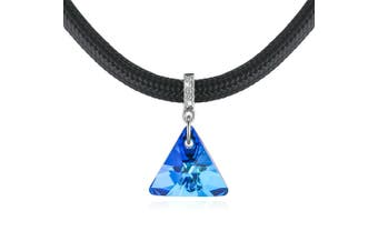 Trigon Capri Blue Necklace Embellished with Swarovski crystals