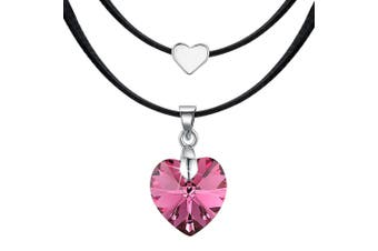 Love To Indian Pink Heart Necklace Embellished with Swarovski crystals