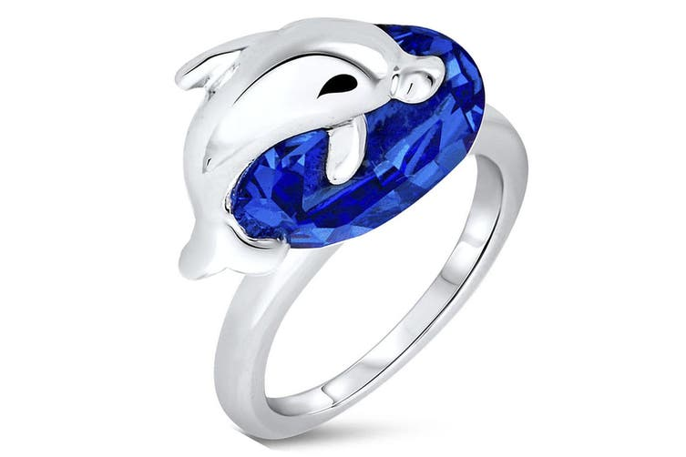 Dolphin Blue Ring Embellished with Swarovski crystals  Size US 8