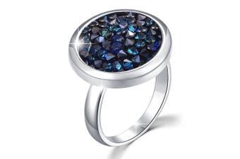 Glitzy Dress Ring Bermuda Blue Embellished with Swarovski crystals Adjustable Size