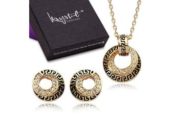 Greek Necklace and Earrings Set Embellished with Swarovski crystals