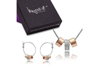 Two Tone Charm Necklace and Earrings Set Flat Embellished with Swarovski crystals