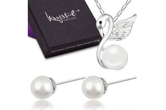 Snowwhite Swan Necklace and Earrings Set Embellished with Swarovski crystals and Pearls