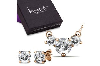 Boxed Brilliant Necklace And Earrings Set Embellished with Swarovski crystals