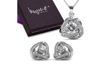 Boxed Celtic Knot Necklace And Earrings Set Embellished with Swarovski crystals