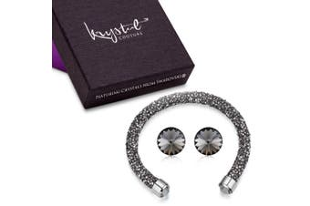 Lady In Black Bangle And Earrings Set Embellished with Swarovski crystals