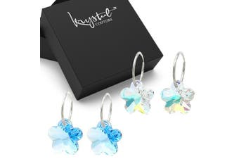 Boxed Sterling Silver 2pr Sleepers Earrings Set Embellished with Swarovski crystals