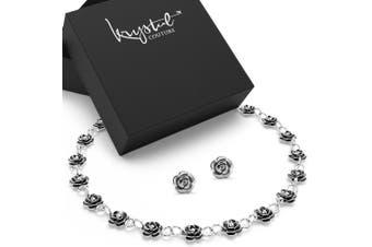 Boxed Sterling Silver Flora Charm Bracelet & Rose Studs Set