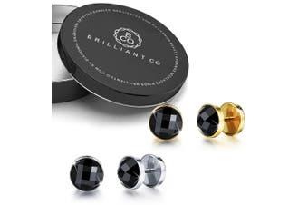 Onyx Button Earrings Set