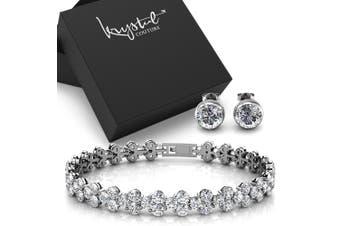 Boxed Bracelet and Earrings Set Embellished with Swarovski crystals