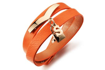 Genuine Cow Leather Wrap Bracelet With Letter 'S'-Leather/Orange