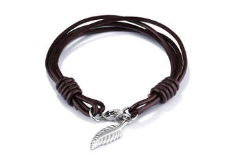 Feather Charm Leather Bracelet-Leather/Brown