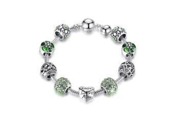 Pandora Inspired Full Set Beaded Charm Bracelet-Green