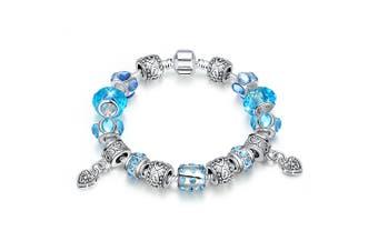 Pandora Inspired Full Set Beaded Charm Bracelet-Silver