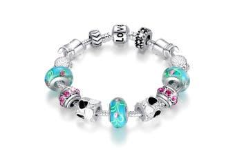 Pandora Inspired Full Set Beaded Charm Bracelet-Turquoise