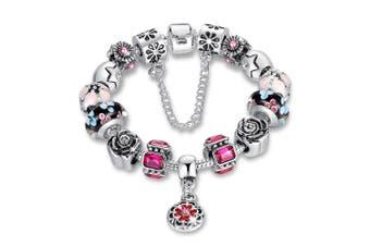 Pandora Inspired Full Set Beaded Charm Bracelet-Pink