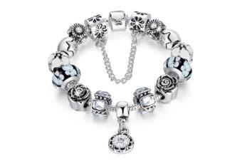Pandora Inspired Full Set Beaded Charm Bracelet-White