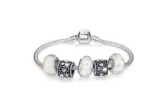 Pandora Inspired Full Set Beaded Charm Bracelet-Clear
