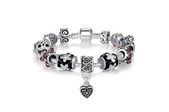 Pandora Inspired Full Set Beaded Charm Bracelet-Red
