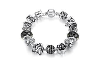 Pandora Inspired Full Set Beaded Charm Bracelet-Black/Clear