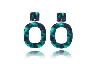 Obsession Tortoiseshell Leopard Print Drop Earrings in Green