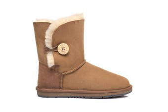 UGG Boots Australia Premium Double Face Sheepskin Short Button #15802 (Chestnut, 13L / 11M)