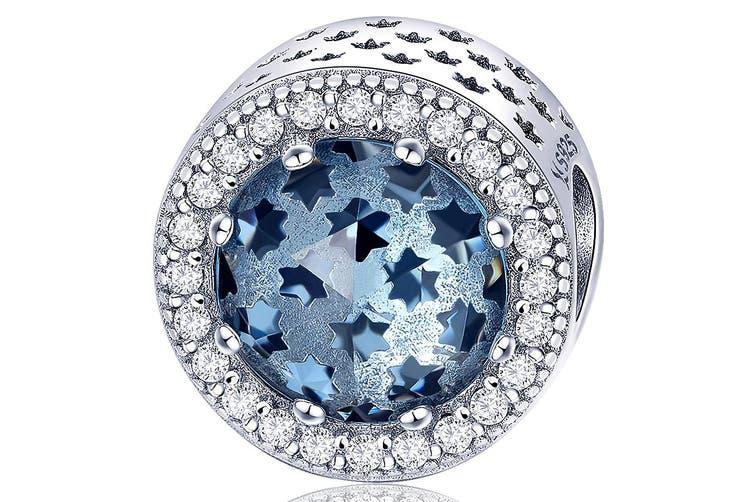 .925 Sky Blue Mystic Stars CZ Charm