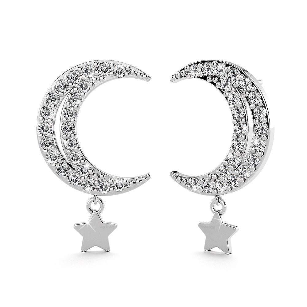 Star Moon Stud Earrings .925 Sterling Silver