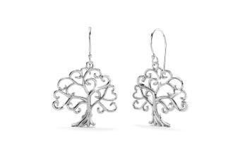 .925 Heart Shaped Tree Leaves Dangle Earrings