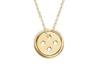 .925 Button Short Necklace-Gold