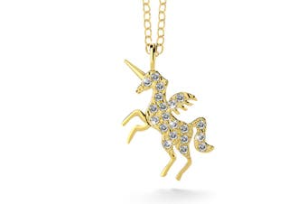 .925 & Gold Simulated Diamond Unicorn Necklace