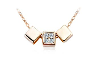 .925 Triple Desire Necklace-Gold/Clear