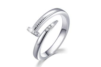 .925 Curved Nail Ring-Silver/Clear