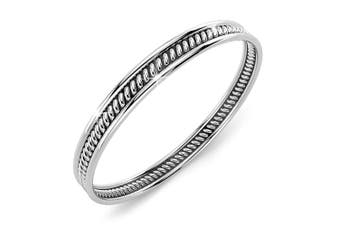 .925 Oxidized Twisted Line Stackable Ring