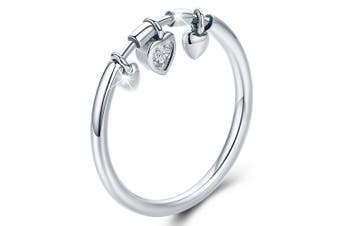 Solid 925 Sterling Silver Love Craze Heart Charm Ring