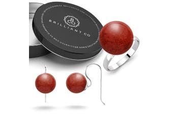 Boxed .925 Red Coral Ring and Earrings Set