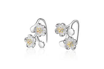 Double Silver Dahlia Flowers Dangle Earrings