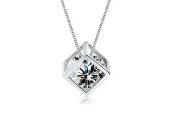 Crystala Cubic Necklace-White Gold/Clear