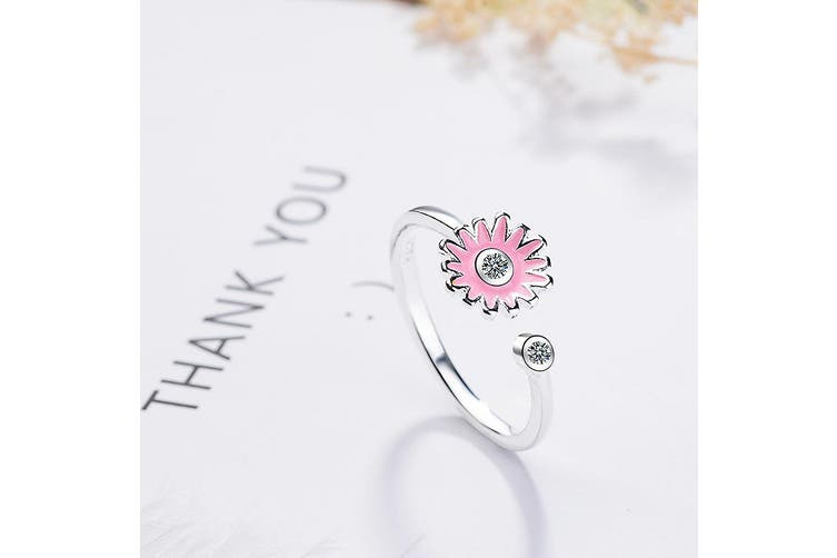 Pink Daisy Flower with Diamonelle Adjustable Ring
