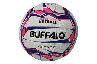 Buffalo Sports Attack Netball - White Pink Size 4
