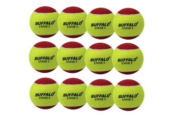 Buffalo Sports Stage 3 Tennis Balls - Red Dot Pack of 12
