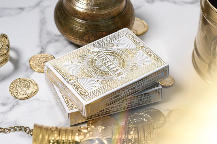 White Aurelian Playing Cards Roman V2 Aurelians Luxury Ellusionist Gold Embossed