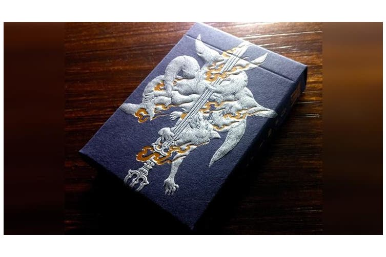 Sumi Kitsune Playing Cards Myth Maker Craft Blue Letterpressed Tuck