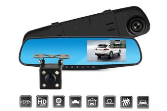 Full HD 1080P Rearview Mirror Video Recorder - Front Camera Lens + Rear Camera / Factory / With 16G Card