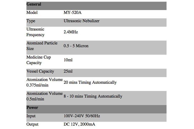 2.4MHZ Ultrasonic Nebuliser Nebulizer