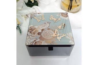 Vintage Gold Glass Trinket Box