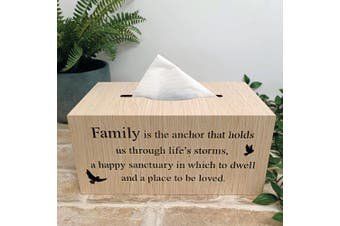 Woodcraft Tissue Box Cover - Family
