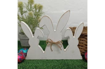 Easter Bunny Trio Wooden Decoration